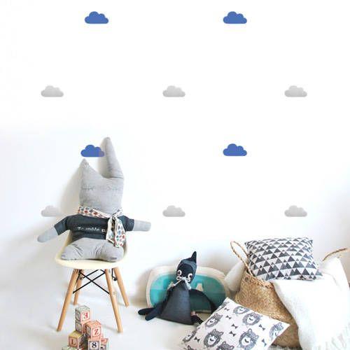 Muurstickers wolken blauw grijs p m momo - Deco kamer volwassen blauw ...