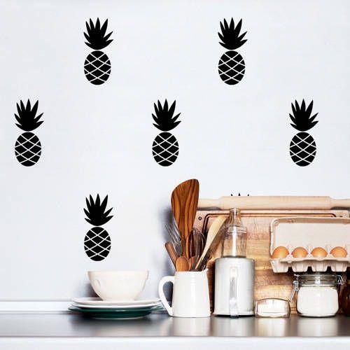 Muurstickers ananas zwart – Pöm