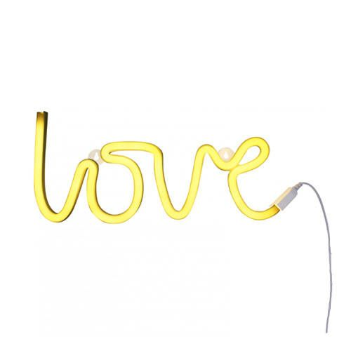 Neon stijl lamp love geel – A little lovely company