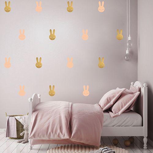 Muurstickers konijn roze goud – Pöm