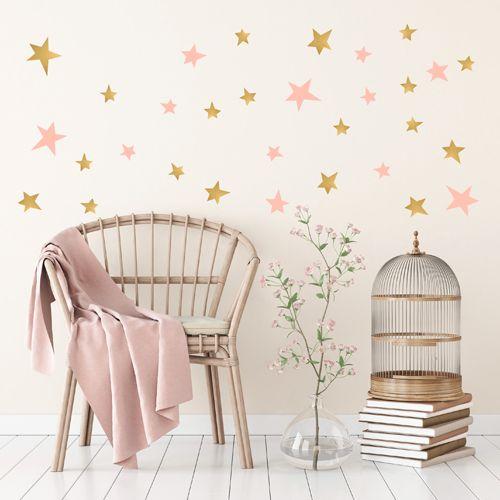 Muurstickers ster roze goud – Pöm