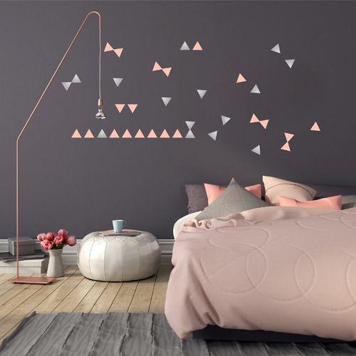 Muurstickers driehoek zilver-roze – Pöm