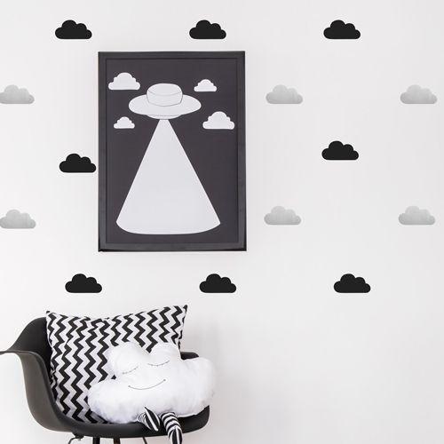 Muurstickers wolken zilver-zwart – Pöm