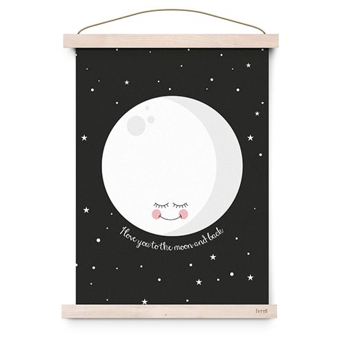 Poster I love you to the moon and back zwart - Eef Lillemor
