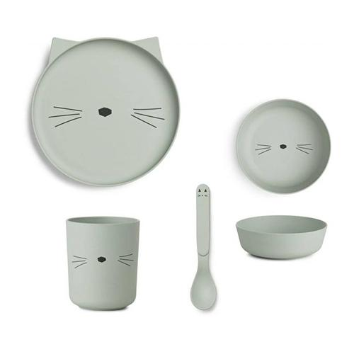 Eetset Bamboo Poes Dusty mint - Liewood