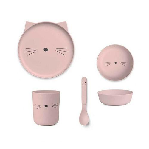 Eetset Bamboo Poes roze - Liewood