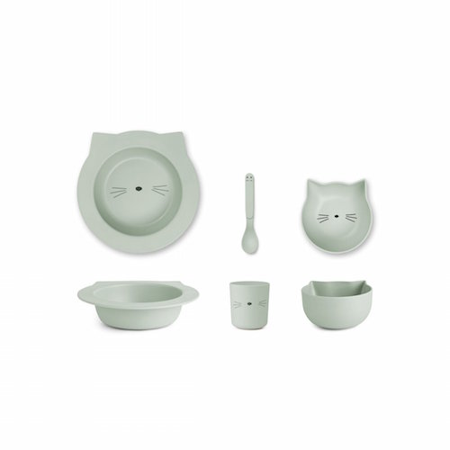 Bamboe baby eetset Barbara Cat Dusty mint - Liewood