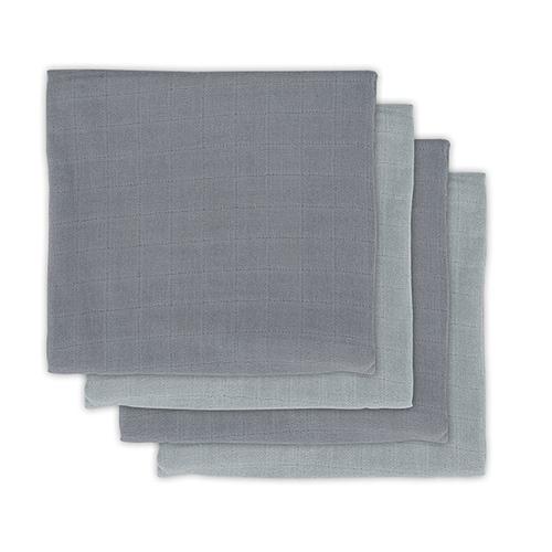 Hydrofiele/Bamboe multidoeken small 70x70cm Storm grey (4pack) - Jollein