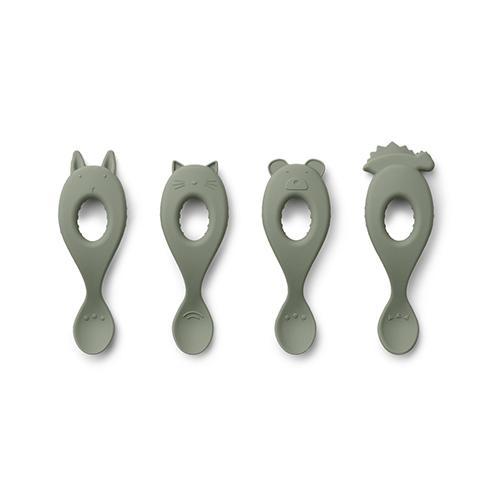 Liva Siliconen Lepels 4 stuks - Faune Green - Liewood
