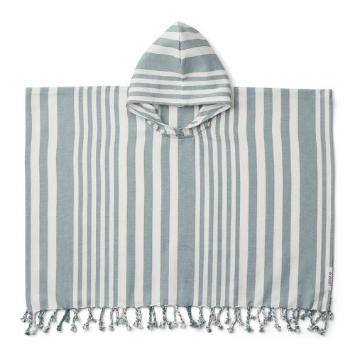 Poncho Roomie Stripe Sea bluecreme 4-6 jaar - Liewood
