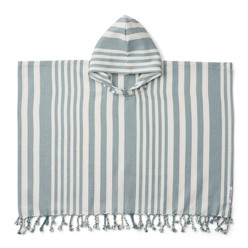 Poncho Roomie Stripe Sea blue/creme 2-4 jaar - Liewood