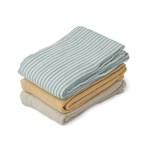 Hydrofiele doeken Line 3 pack stripe Sea blue mix - Liewood