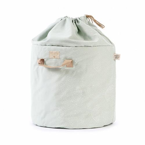 Opbergmand Bamboo White bubble/aqua large - Nobodinoz