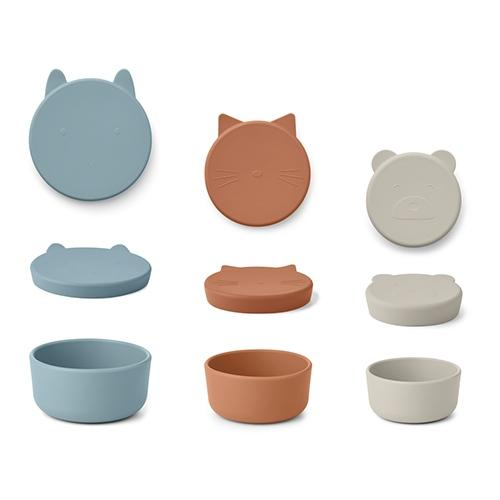 Silicone Snack box Corgan Blue mix 3-delig - Liewood