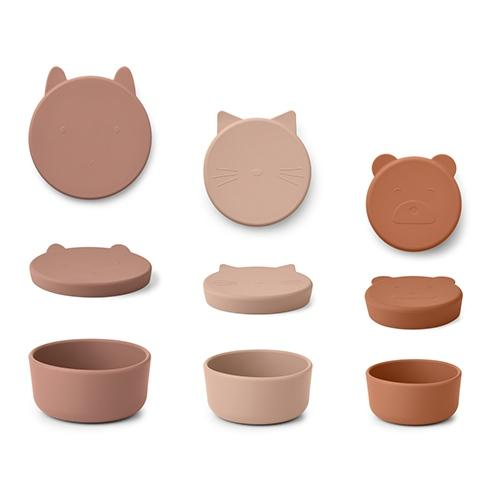 Silicone Snack box Corgan Rose mix 3-delig - Liewood