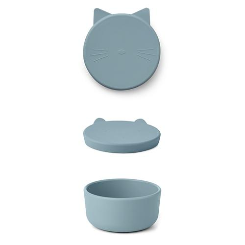 Silicone Snack box Cornelius Cat sea blue - Liewood