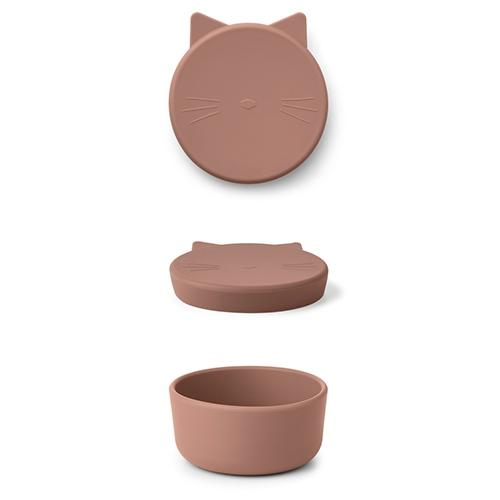 Silicone Snack box Cornelius Cat dark rose - Liewood