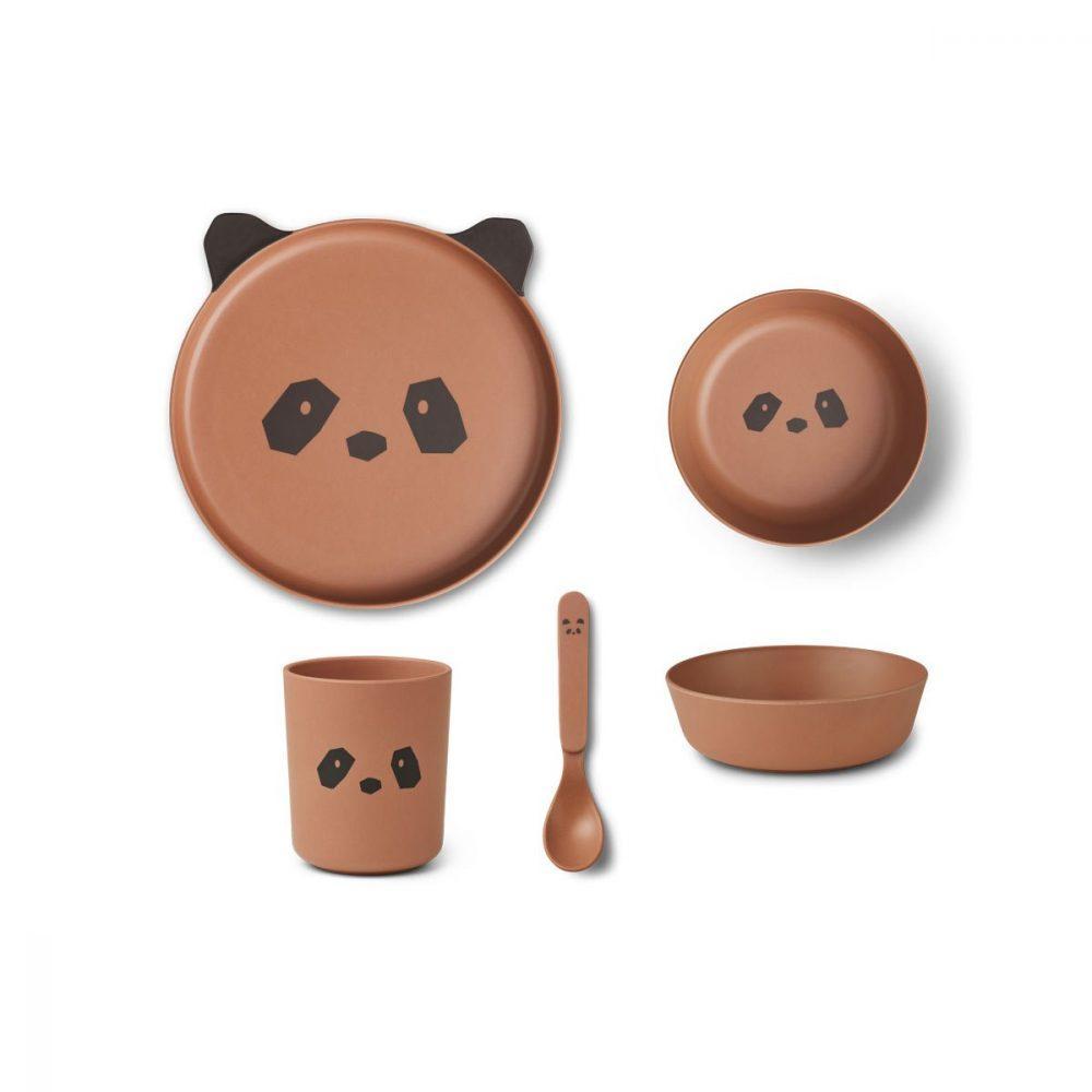 Eetset Bamboo Panda tuscany rose - Liewood
