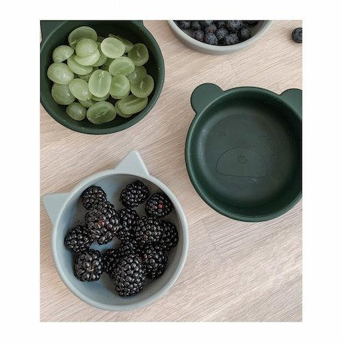 Iggy Snack Bowl silicone Hunter green mix 4-delig - Liewood