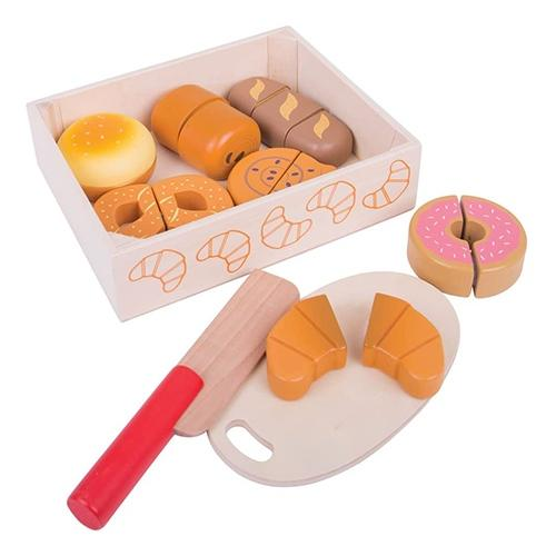 Houten kistje met snijbrood en gebak - Bigjigs