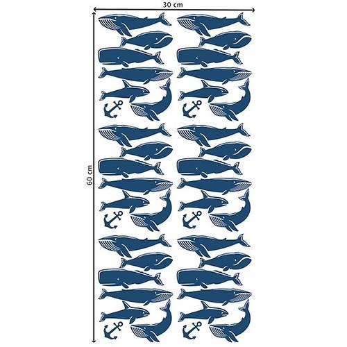 Muurstickers walvissen blauw - Pöm