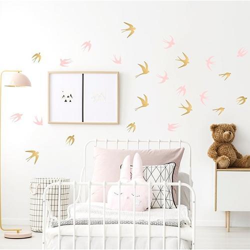 Muurstickers vogels zilver/roze - Pöm