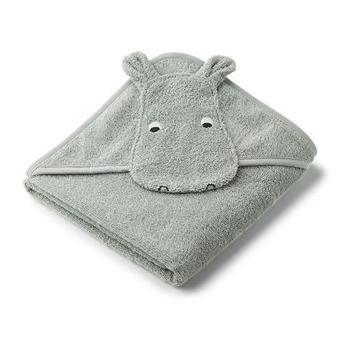 Baby badcape Albert Hippo Dove blue - Liewood
