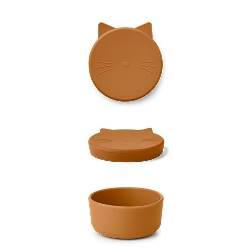 Silicone Snack box Cornelius Cat Mustard - Liewood