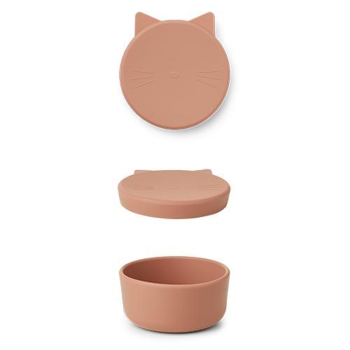 Silicone Snack box Cornelius Cat Tuscany rose - Liewood