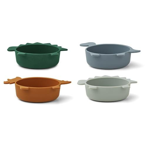 Iggy Snack Bowl silicone Dino Blue multi mix 4-delig - Liewood