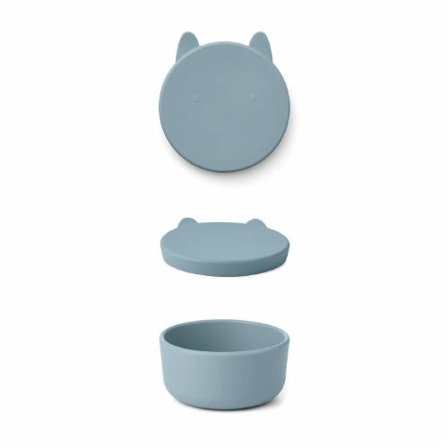 Silicone Snack box Charlot Rabbit Sea blue - Liewood