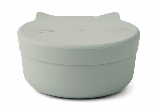 Silicone Snack box Cornelius Cat Dove blue - Liewood