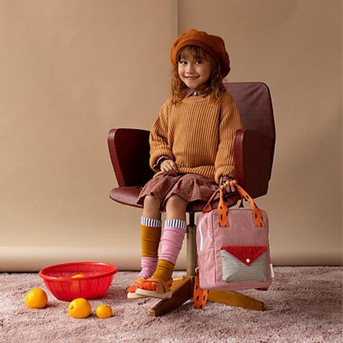 Rugzakje Small Corduroy dusty pink   marmalade   carrot orange - Sticky Lemon