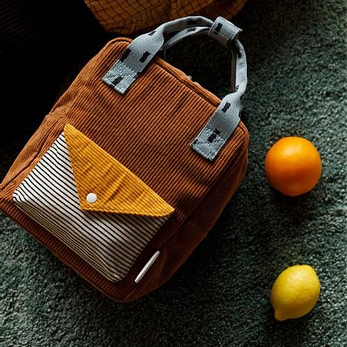 Rugzakje Small Corduroy walnut brown | marigold | steel blue - Sticky Lemon