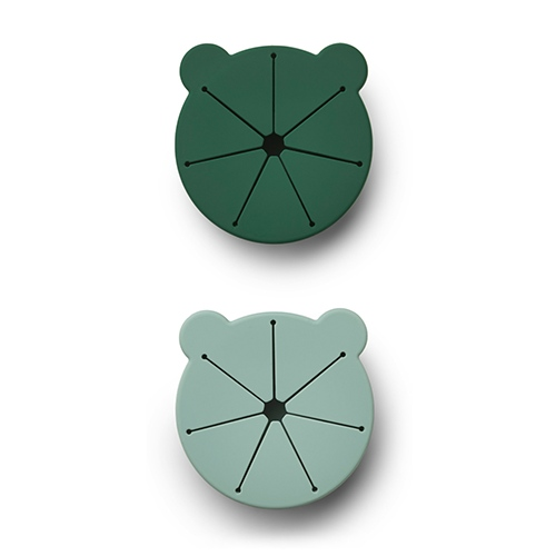 Silicone Snack box Kelly 2-pack Mr Bear Green mix - Liewood