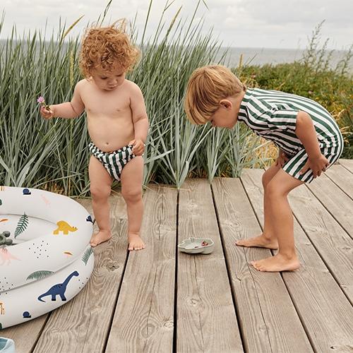 Zwemjumpsuit Max - Stripe Garden green/Sandy - Liewood