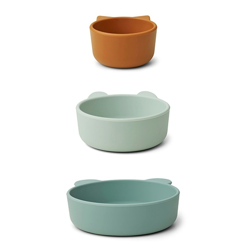 Siliconen bowls Eddy 3-pack Peppermint multi mix - Liewood