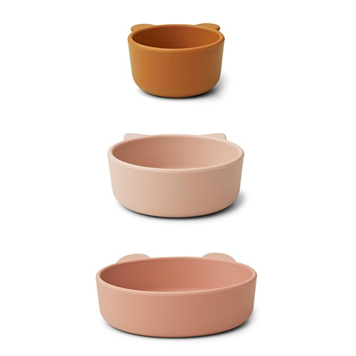 Siliconen bowls Eddy 3-pack Rose multi mix - Liewood