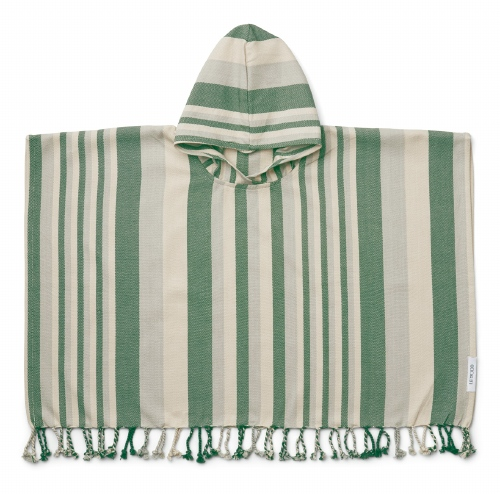 Poncho Roomie Stripe Garden green/Sandy/Dove blue - Liewood