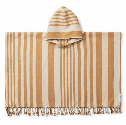 Poncho Roomie Stripe Mustard/Sandy - Liewood