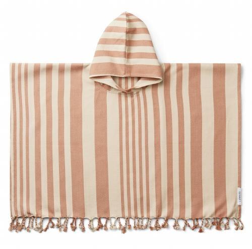 Poncho Roomie Stripe Tuscany Rose/Sandy - Liewood