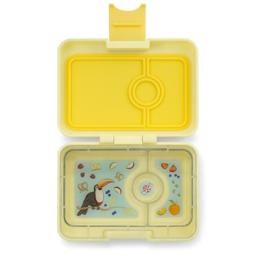 Lunchbox MiniSnack 3 vakken Sunburst yellow/Toucan tray - Yumbox
