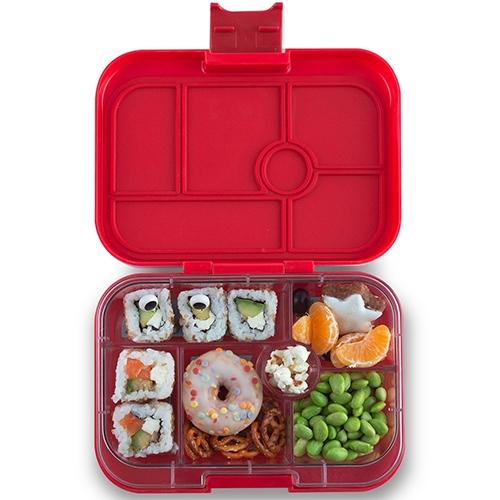 Lunchbox Original 6 vakken Wow red/Funny monsters tray - Yumbox