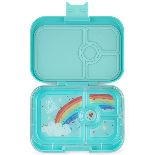 Lunchbox Panino 4 vakken Misty aqua/Rainbow tray - Yumbox