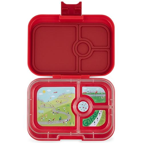 Lunchbox Panino 4 vakken Wow red/Bike race tray - Yumbox