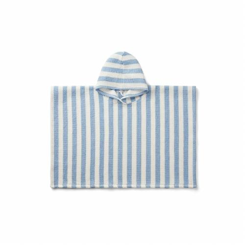Poncho Paco Stripe Sky blue/creme de la creme - Liewood