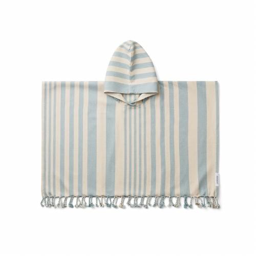 Poncho Roomie Stripe Sea blue/Sandy - Liewood