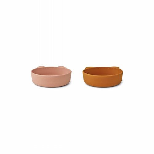 Siliconen bowls Vanessa 2-pack Dark rose/mustard mix - Liewood