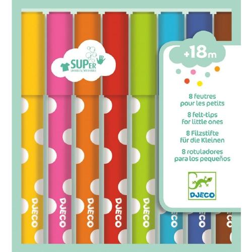 Viltstiften uitwasbaar voor kleine kinderen 6 stuks - Djeco