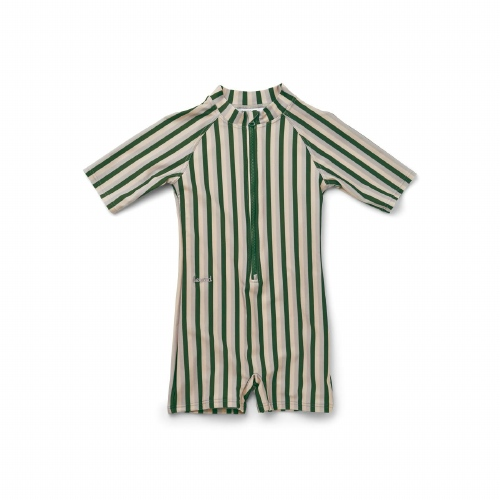 Zwemjumpsuit Max - Stripe Garden green/Sandy/Dove blue - Liewood